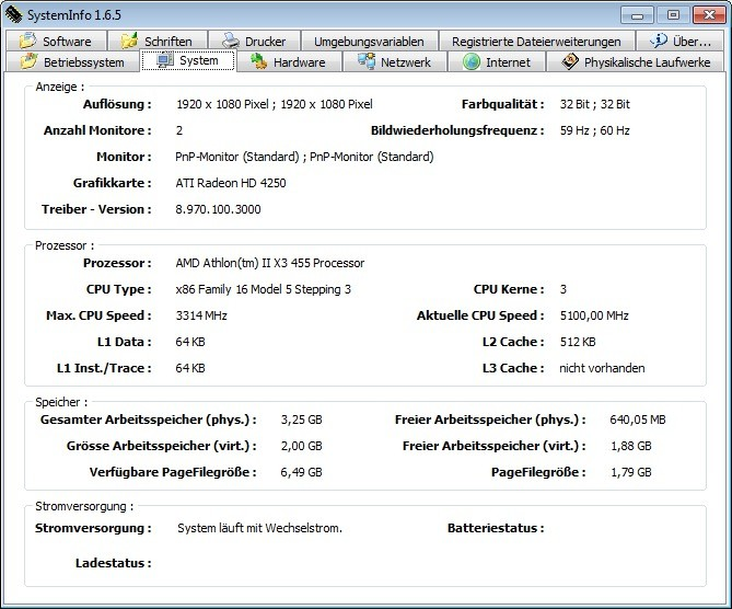 Screenshot 1 - SystemInfo
