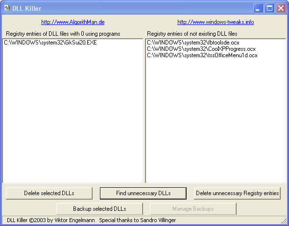 Screenshot 1 - DLL Killer