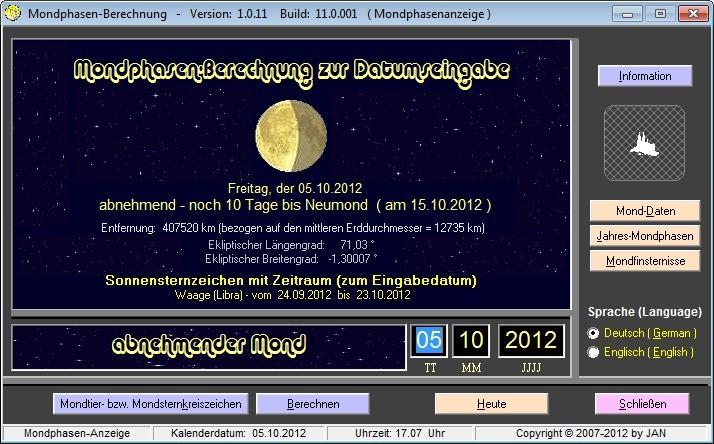 Screenshot 1 - Mondphasen-Berechnung