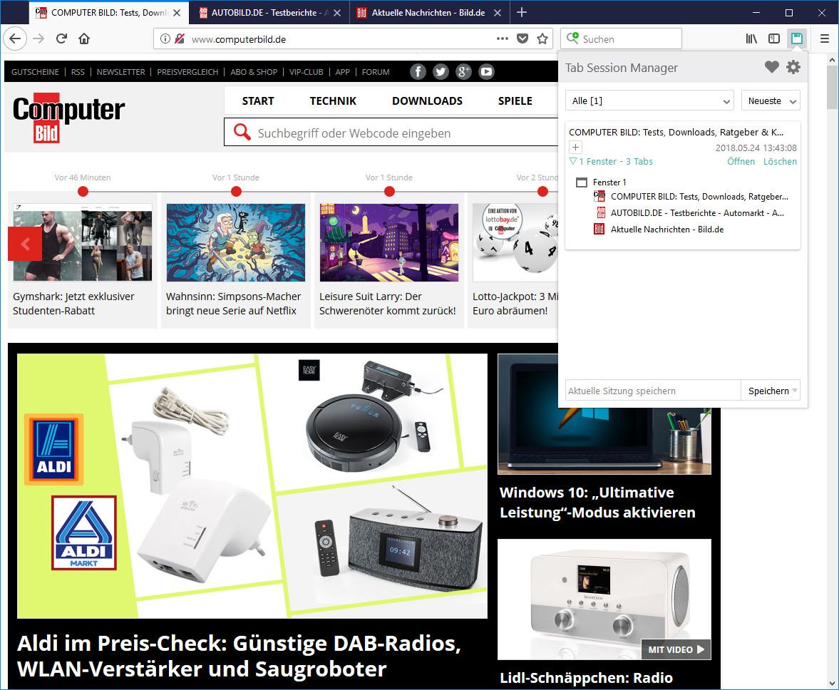 Screenshot 1 - Tab Session Manager für Firefox