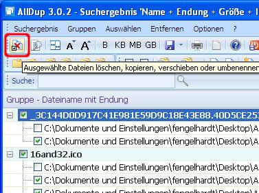AllDup: Datenklone löschen