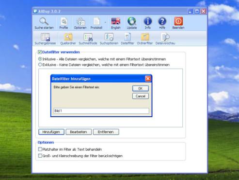 AllDup: Menüpunkt Dateifilter