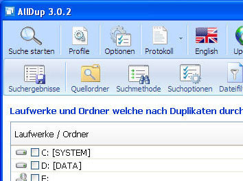 AllDup: Suche starten