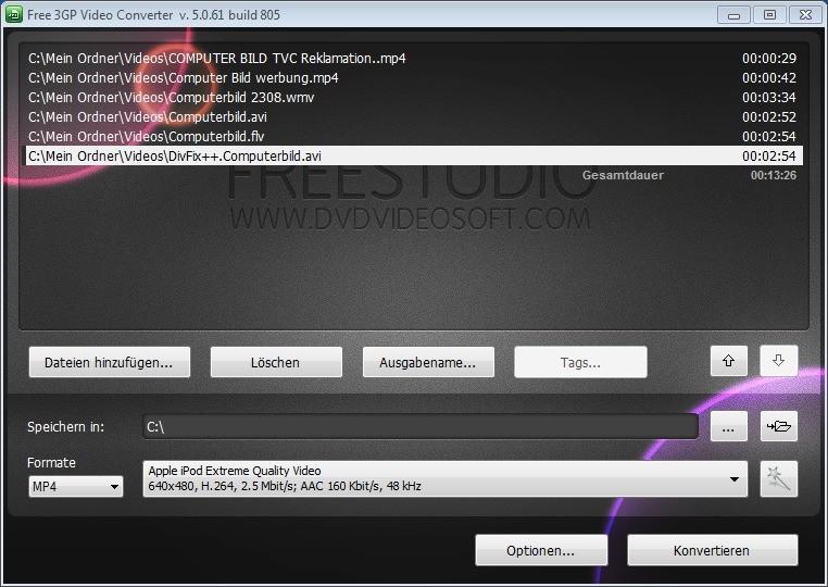 Screenshot 1 - Free 3GP Video Converter