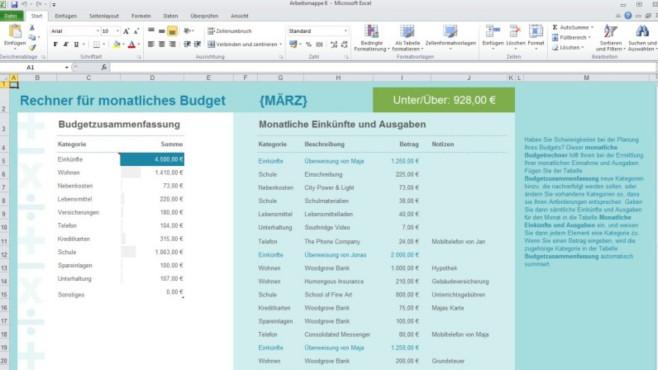 Excel-Vorlage: Monatsbudget (Office) ©COMPUTER BILD