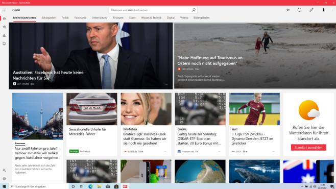 Microsoft News: Nachrichten (Windows-10-App) ©COMPUTER BILD