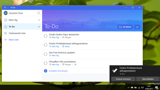 Microsoft To-Do (Windows-10-App, Büro) © COMPUTER BILD