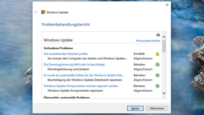 Tuning: Windows-Update-Problembehandlung (Troubleshooter) © COMPUTER BILD