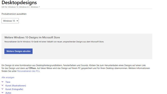 Windows 7/8/10: Theme-Pack von Microsoft (Desktop) ©COMPUTER BILD