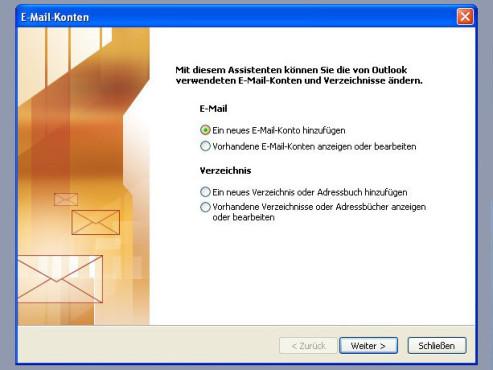 Outlook 2003: Konto einrichten