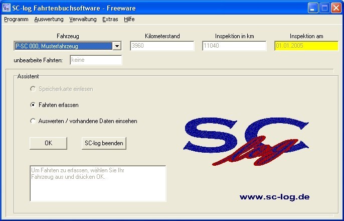 Screenshot 1 - SC-Log Fahrtenbuch