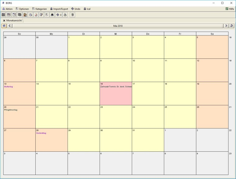 Screenshot 1 - BORG Calendar