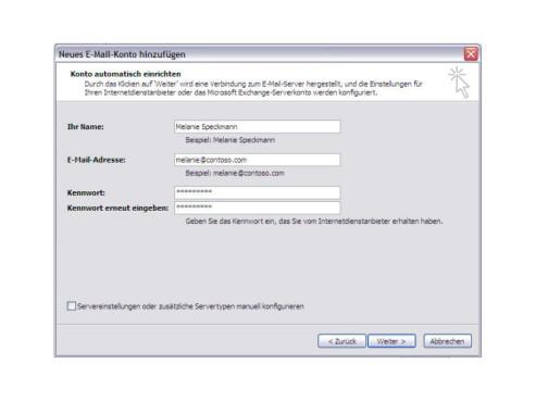 Outlook 2007: Konto einrichten