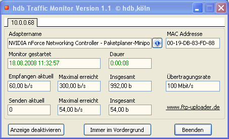Screenshot 1 - hdb Traffic Monitor