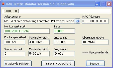 Screenshot 1 - hdb Traffic Monitor