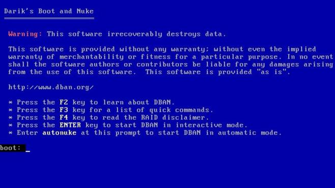 DBAN (Darik's Boot and Nuke): Komplette Festplatte sicher überschreiben ©COMPUTER BILD
