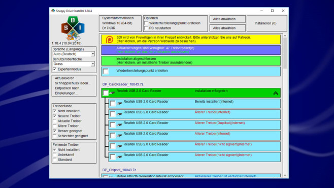 Snappy Driver Installer (SDI): Treiber unterschiedlicher Versionen finden ©COMPUTER BILD
