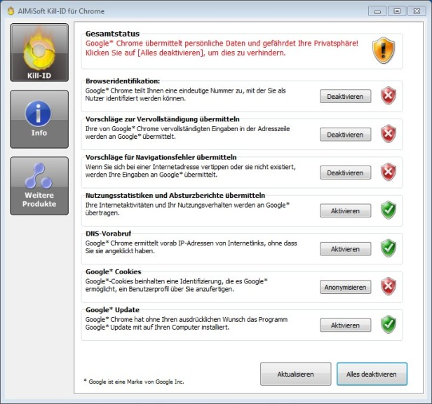 Screenshot 1 - Kill-ID für Chrome