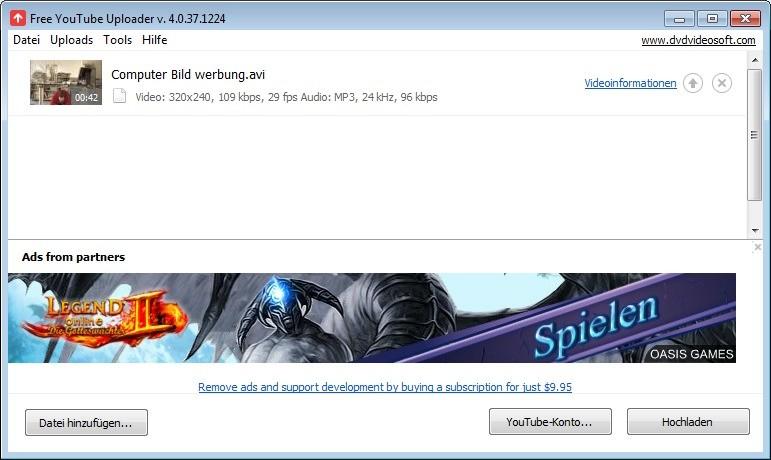 Screenshot 1 - Free YouTube Uploader