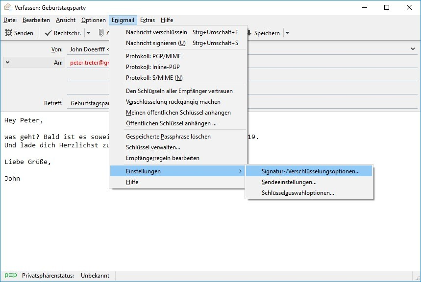 Screenshot 1 - Enigmail OpenPGP für Thunderbird