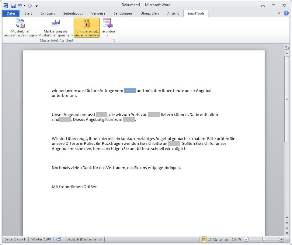Screenshot 1 - SmartTools Musterbrief-Assistent für Word