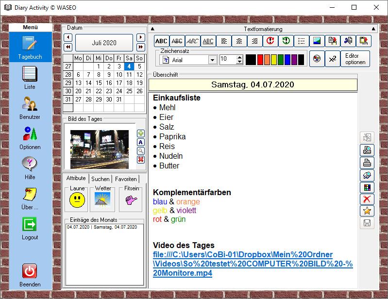 Screenshot 1 - Diary Activity