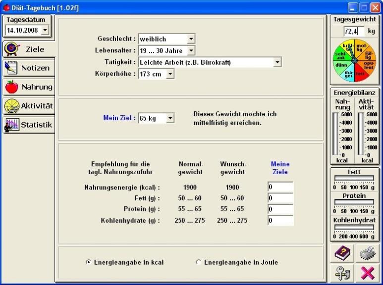 Screenshot 1 - Diät-Tagebuch