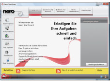 """Nero 9 (Version 9.0.9.4b) mit Blu-ray-Plug-in Fast unverändert zeigt sich die Schaltzentrale """"StartSmart"""" von Nero 9."""