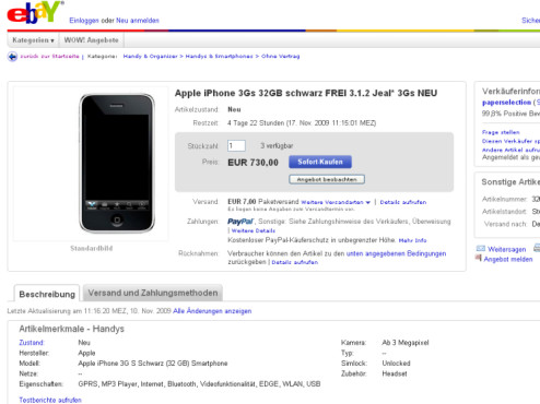 iPhone 3GS bei Ebay