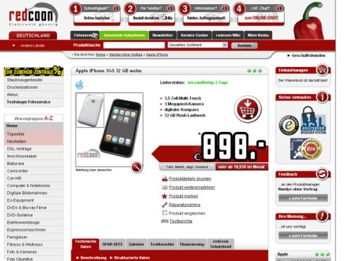 iPhone 3GS bei Redcoon.de