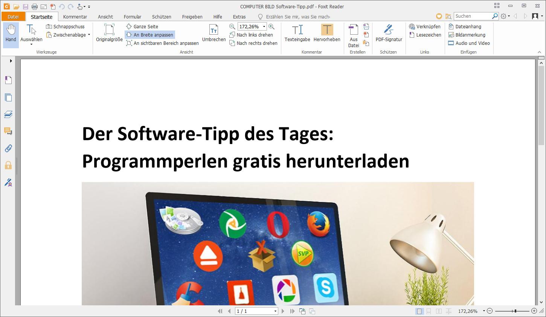 Screenshot 1 - Foxit PDF Reader Portable