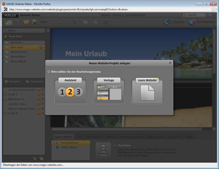 Screenshot 1 - Magix Website Maker