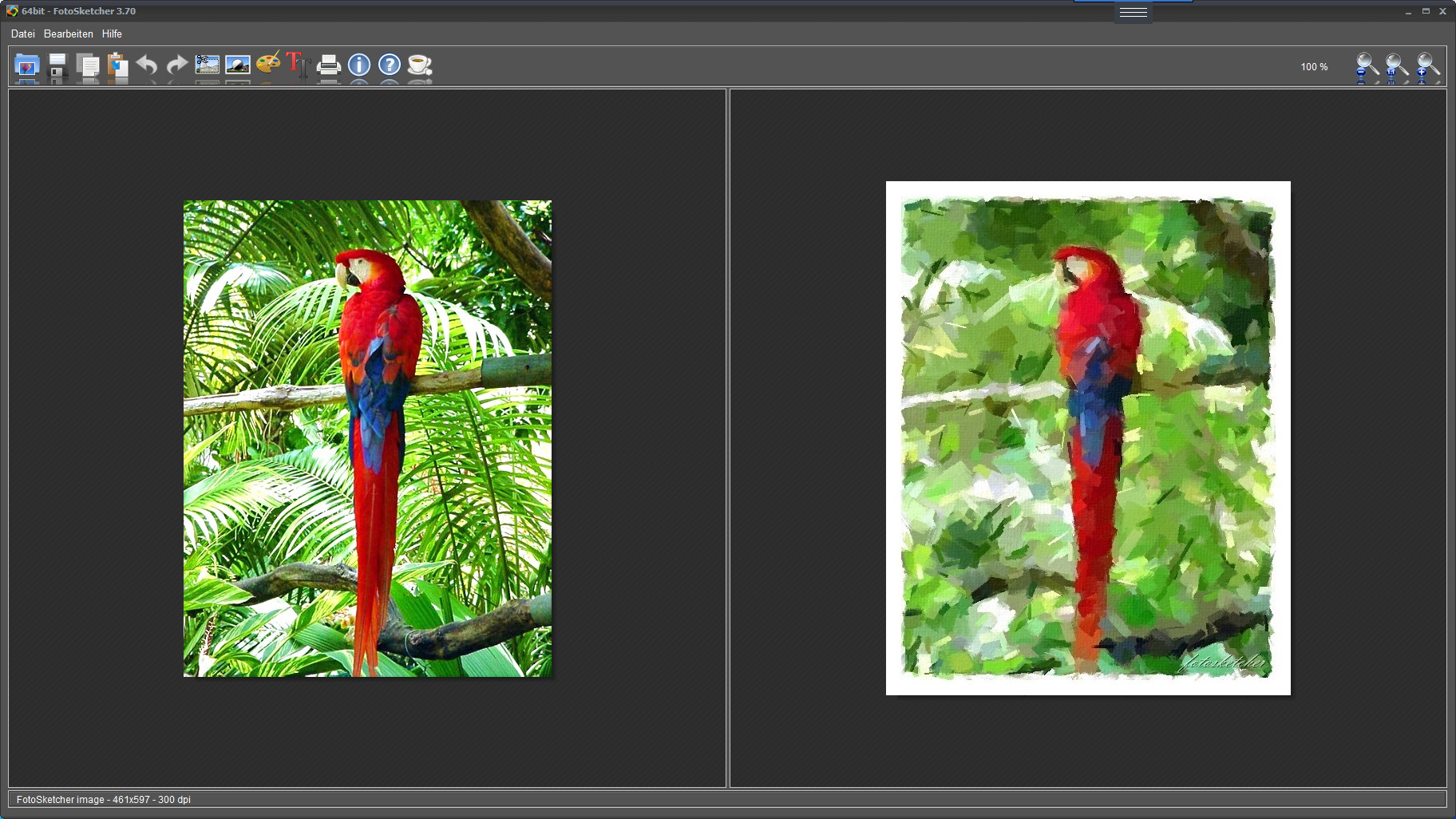 Screenshot 1 - FotoSketcher Portable