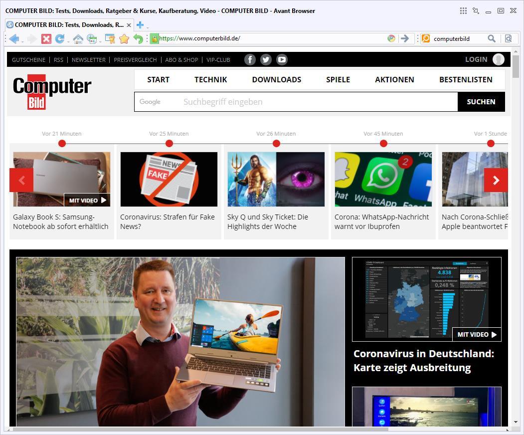 Screenshot 1 - Avant Browser 2020 Portable
