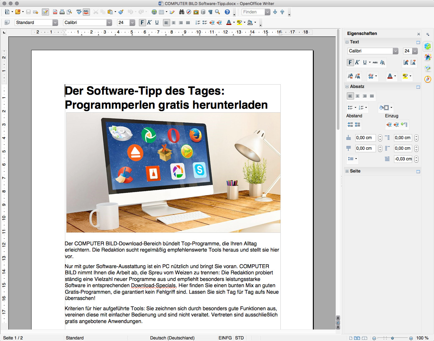 Screenshot 1 - OpenOffice (Mac)