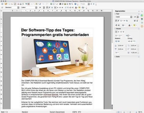 Screenshot 1 - OpenOffice (Mac)