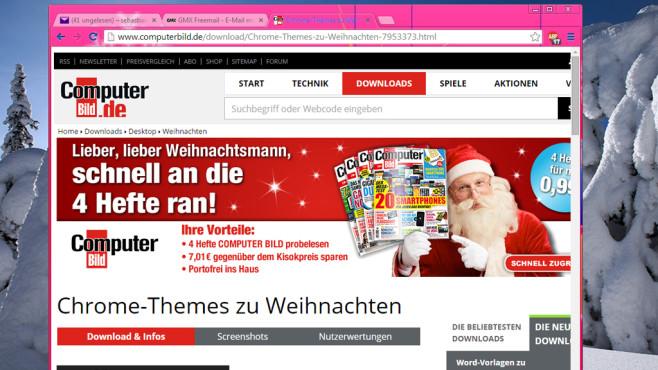 Chrome-Themes zu Weihnachten: Google-Browser schmücken ©COMPUTER BILD