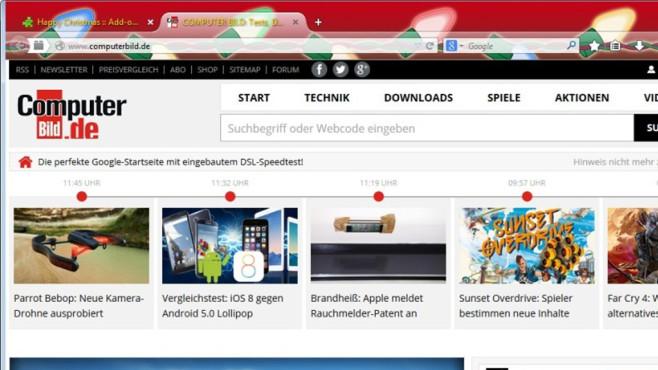 Firefox-Themes zu Weihnachten: Firefox festlich verzieren ©COMPUTER BILD