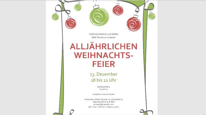 Weihnachtsfeier (Einladung als Word-Vorlage): Karten gestalten ©COMPUTER BILD