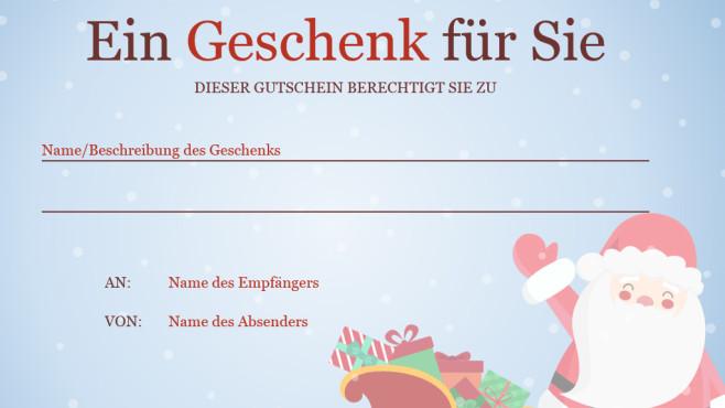 Weihnachtsgeschenkgutschein (Word-Vorlage) ©COMPUTER BILD