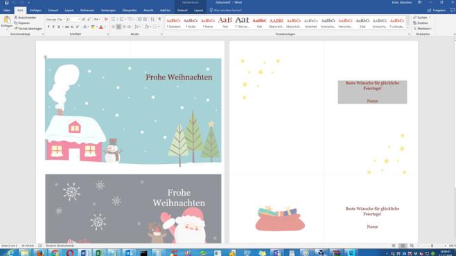 Weihnachtskarten (Word-Vorlage) ©COMPUTER BILD
