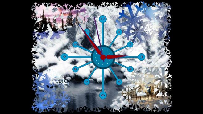 Winter Clock Screensaver: Schneeflocken überall ©COMPUTER BILD