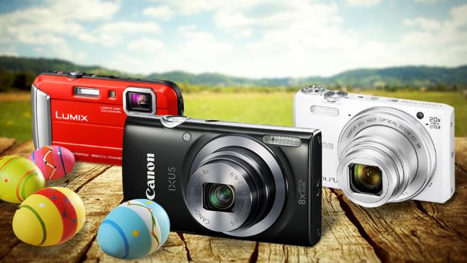 Oster-Schnäppchen: Diese Kameras kosten keine 200 Euro.©demarco - Fotolia.com, mythja - Fotolia.com, Canon, Lumix