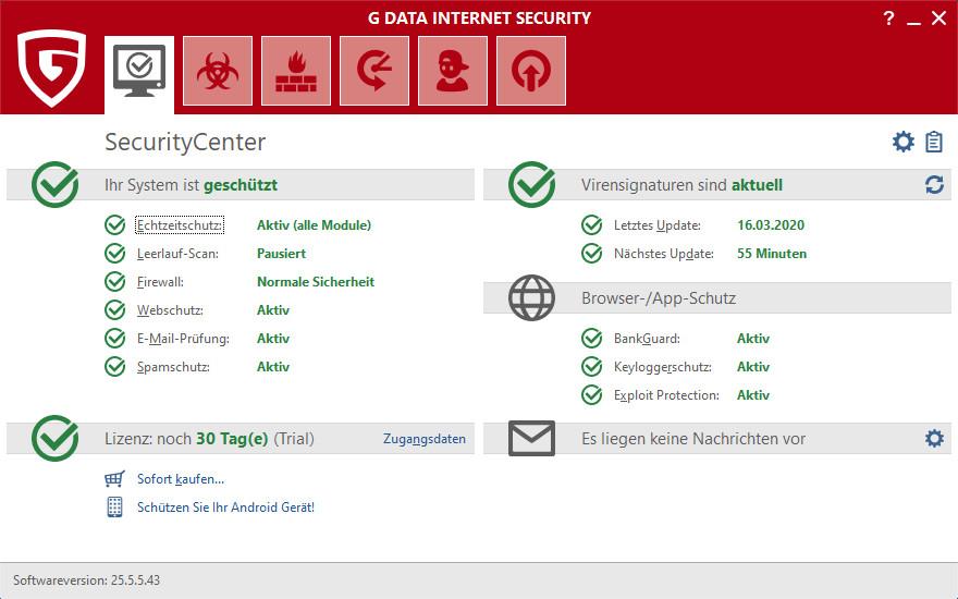 Screenshot 1 - G Data Internet Security 2020