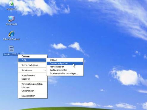 Datenkomprimierung mit 7-Zip: Archiv entpacken