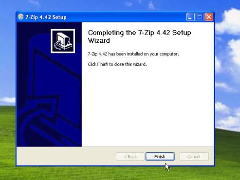 Datenkomprimierung mit 7-Zip: Installation beenden
