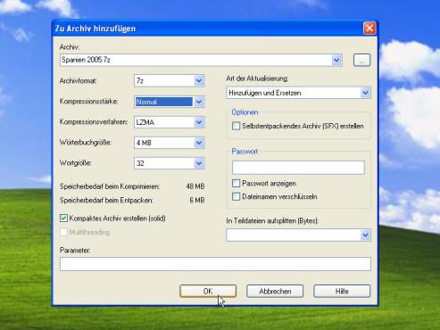 Datenkomprimierung mit 7-Zip: Komprimierung