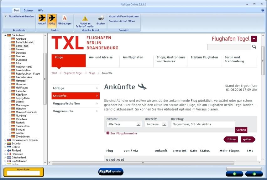 Screenshot 1 - Abflüge Online