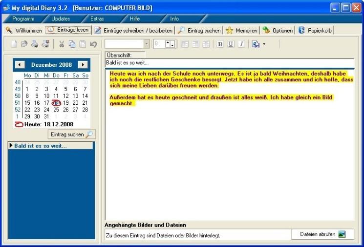 Screenshot 1 - My Digital Diary