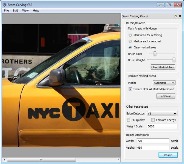 Screenshot 1 - Seam Carving GUI